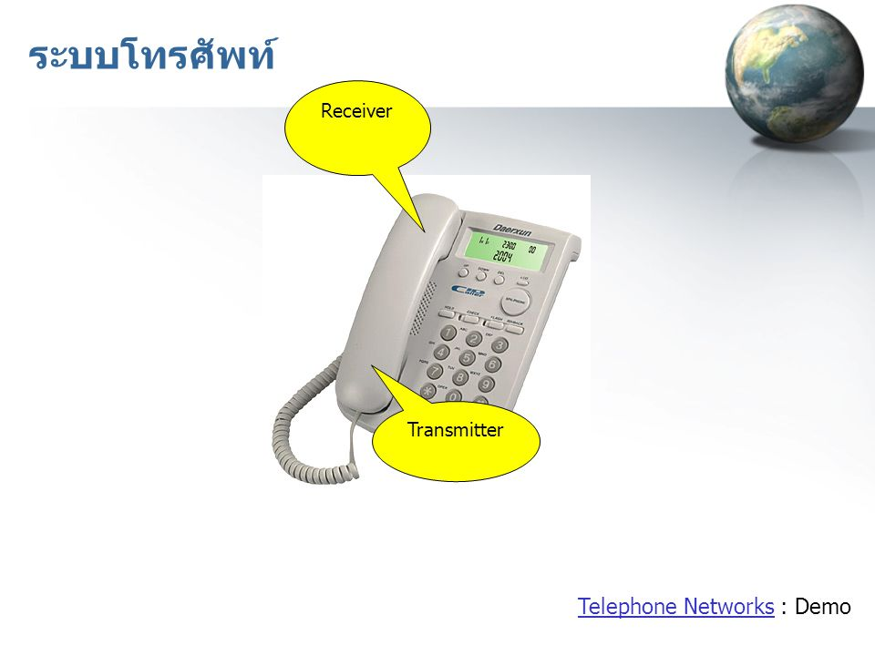 ระบบโทรศัพท์ Receiver Transmitter Telephone Networks : Demo
