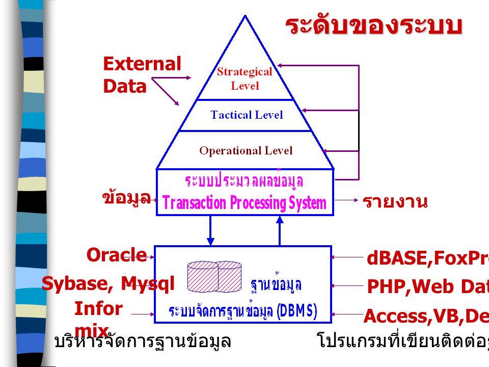 ระดับของระบบ รายงาน External Data ข้อมูล Oracle Sybase, Mysql