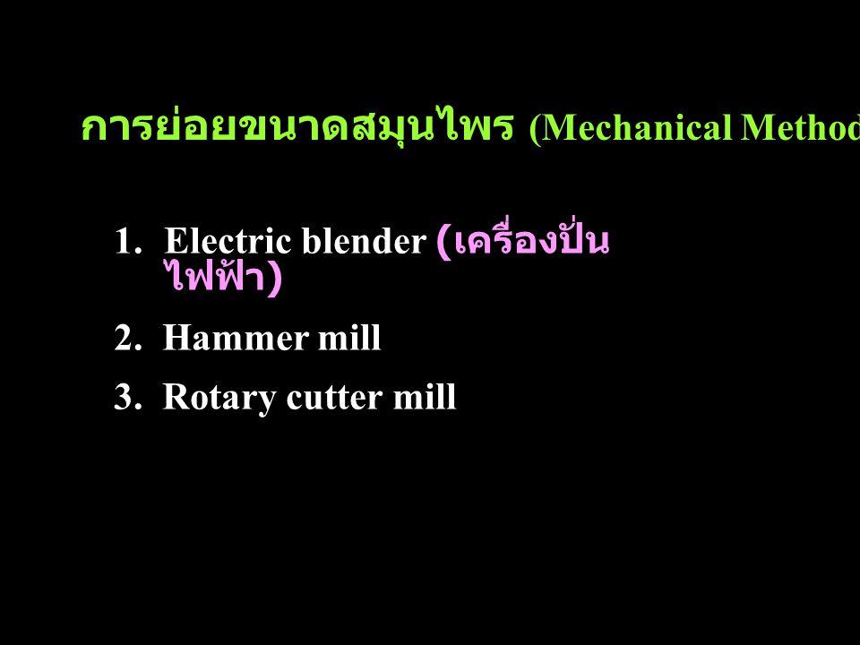 การย่อยขนาดสมุนไพร (Mechanical Method)