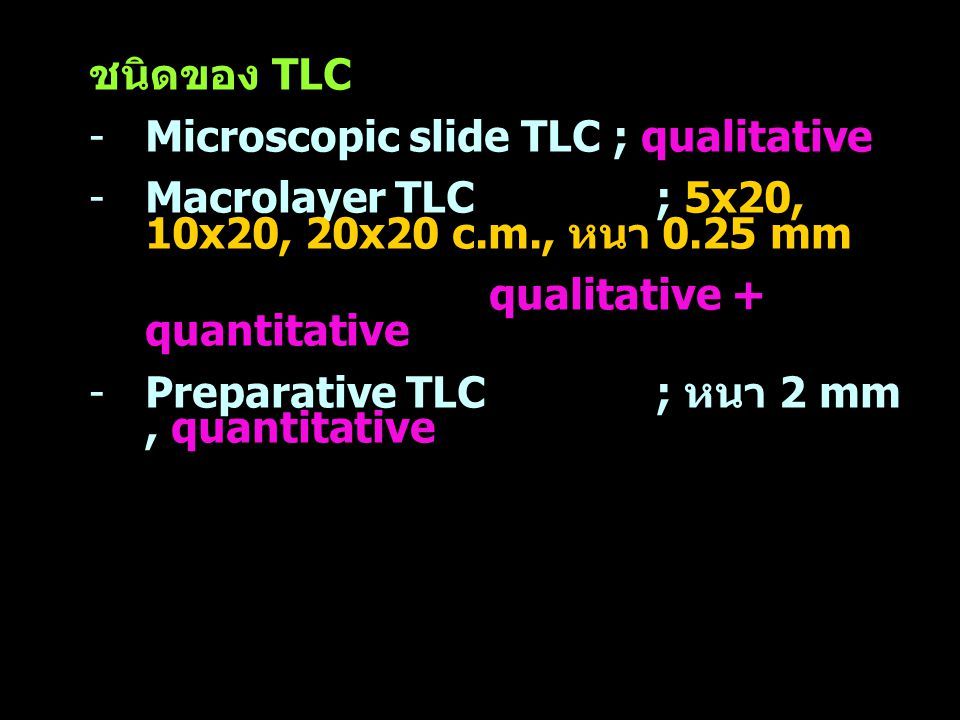 ชนิดของ TLC Microscopic slide TLC ; qualitative. Macrolayer TLC ; 5x20, 10x20, 20x20 c.m., หนา 0.25 mm.