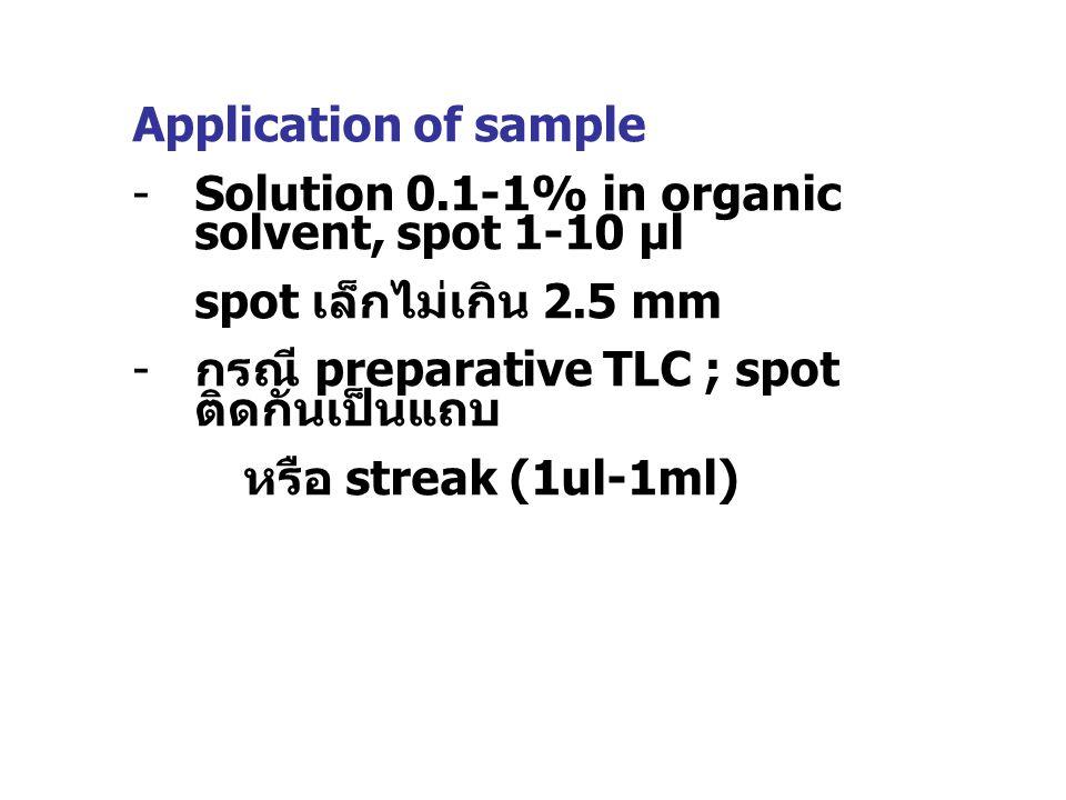 Application of sample Solution 0.1-1% in organic solvent, spot 1-10 µl. spot เล็กไม่เกิน 2.5 mm. กรณี preparative TLC ; spot ติดกันเป็นแถบ.