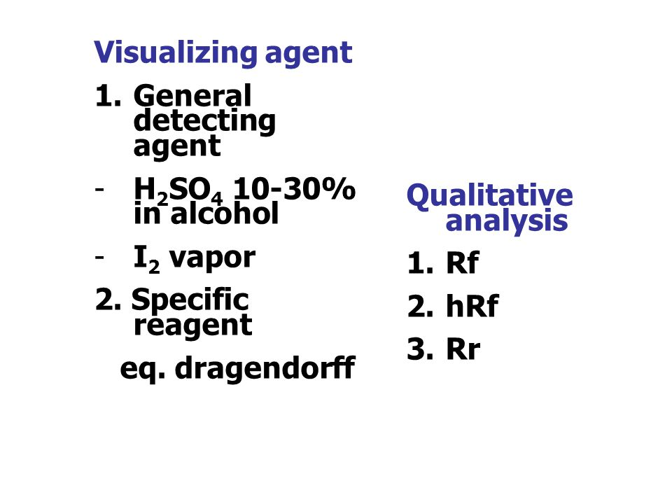Visualizing agent General detecting agent. H2SO4 10-30% in alcohol. I2 vapor. 2. Specific reagent.