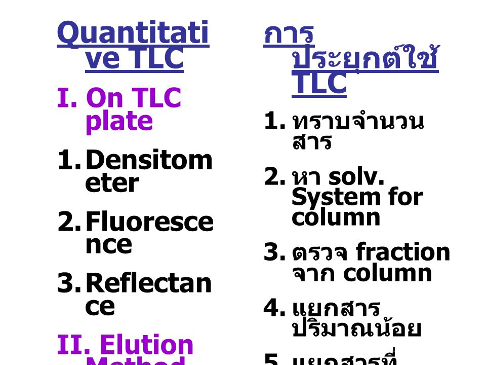 Quantitative TLC การประยุกต์ใช้ TLC I. On TLC plate Densitometer