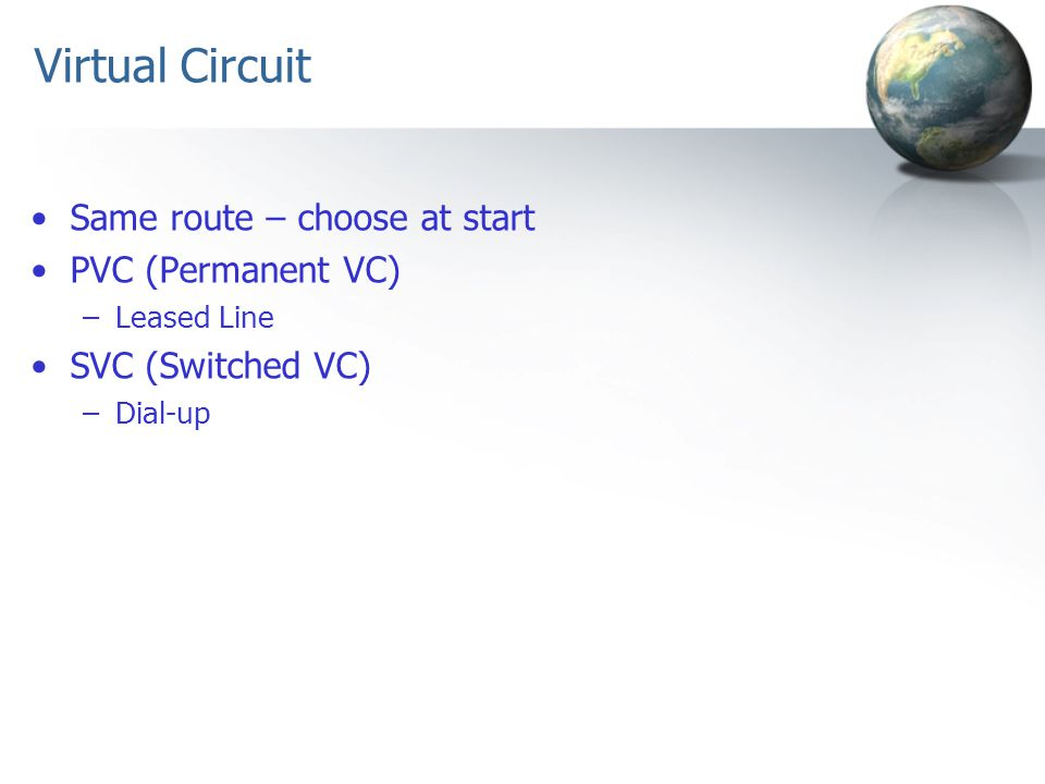 Virtual Circuit Same route – choose at start PVC (Permanent VC)