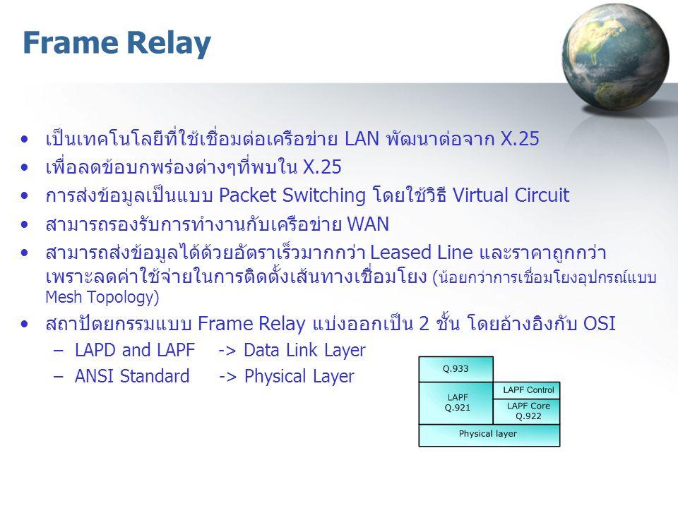 Frame Relay เป็นเทคโนโลยีที่ใช้เชื่อมต่อเครือข่าย LAN พัฒนาต่อจาก X.25