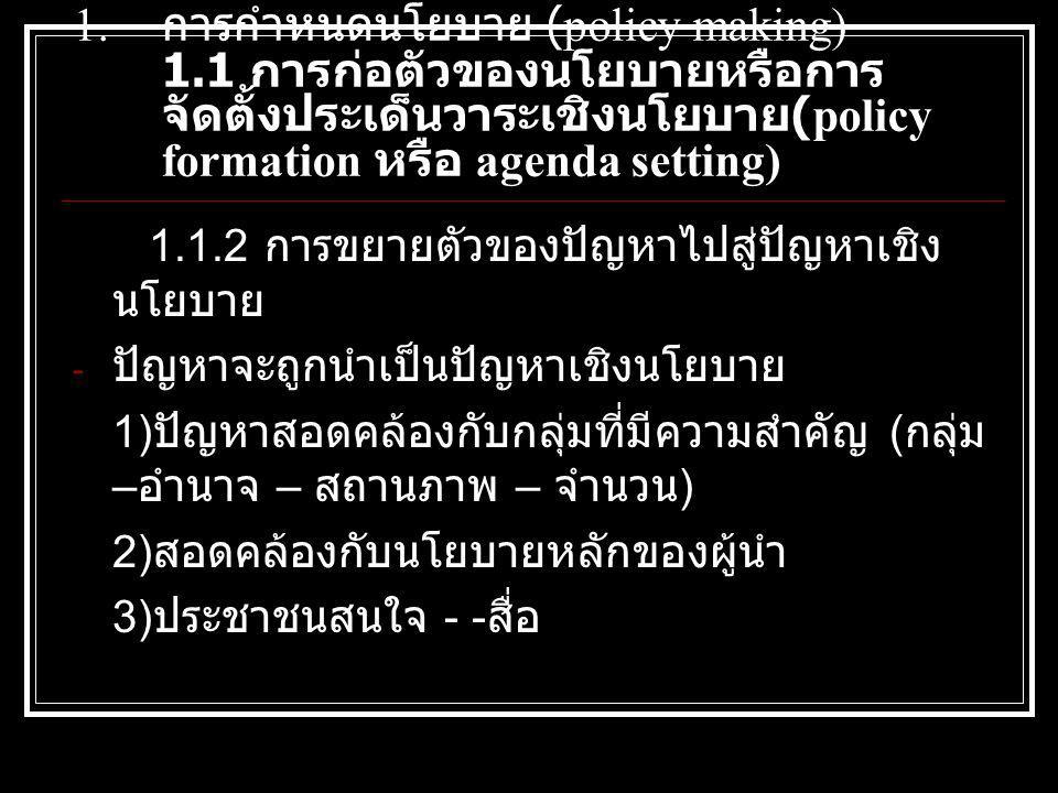 การกำหนดนโยบาย (policy making) 1