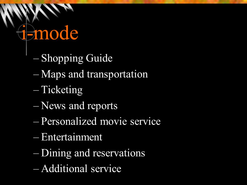 i-mode Shopping Guide Maps and transportation Ticketing