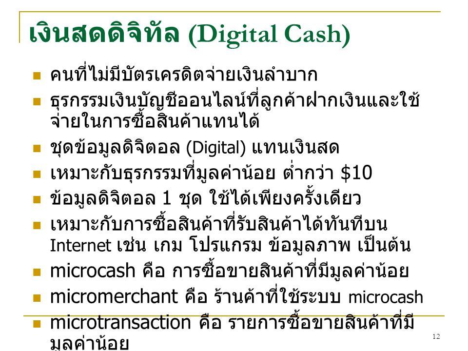 เงินสดดิจิทัล (Digital Cash)