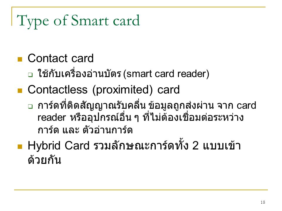 Type of Smart card Contact card Contactless (proximited) card