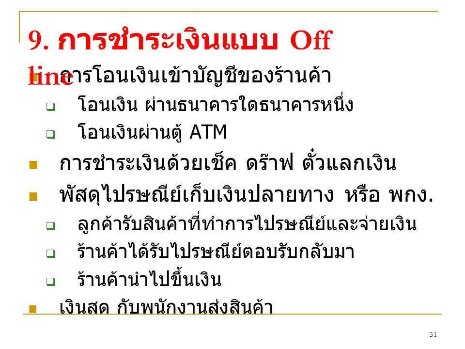 9. การชำระเงินแบบ Off line