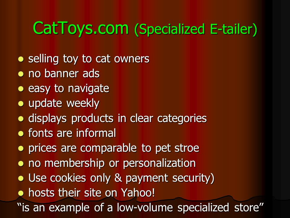 CatToys.com (Specialized E-tailer)