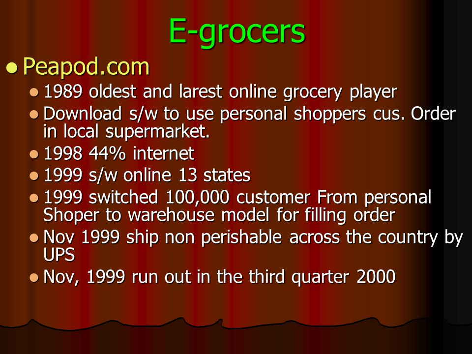 E-grocers Peapod.com 1989 oldest and larest online grocery player