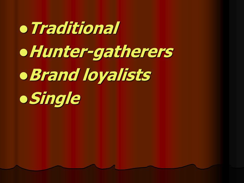 Traditional Hunter-gatherers Brand loyalists Single