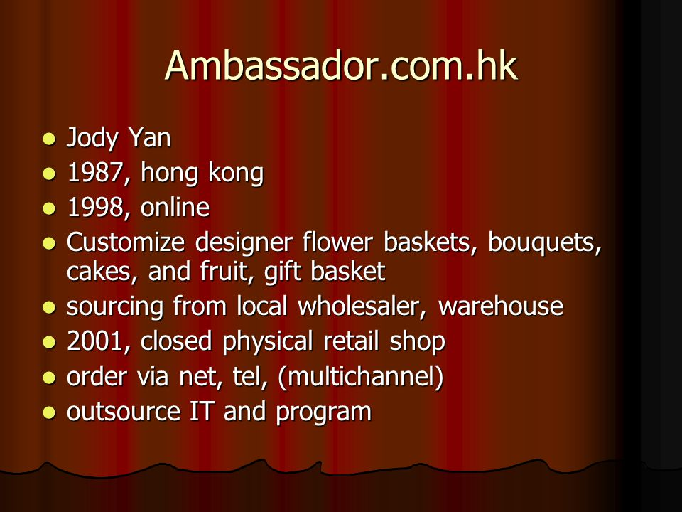 Ambassador.com.hk Jody Yan 1987, hong kong 1998, online