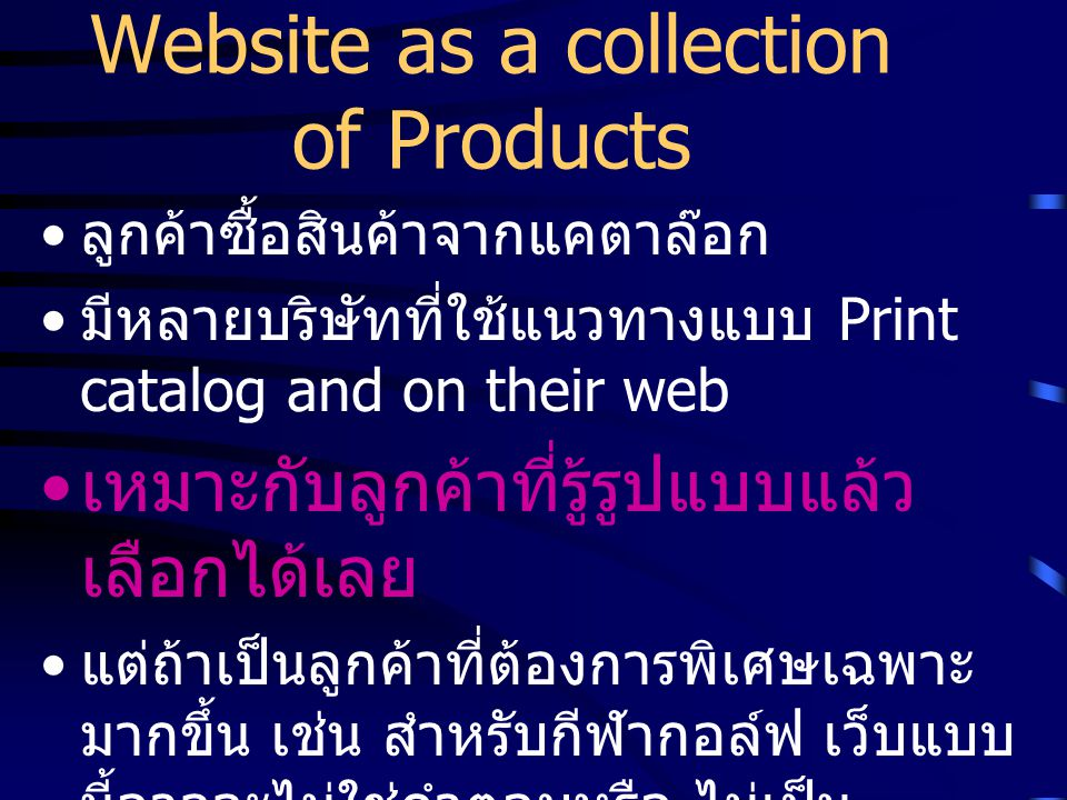 Website as a collection of Products