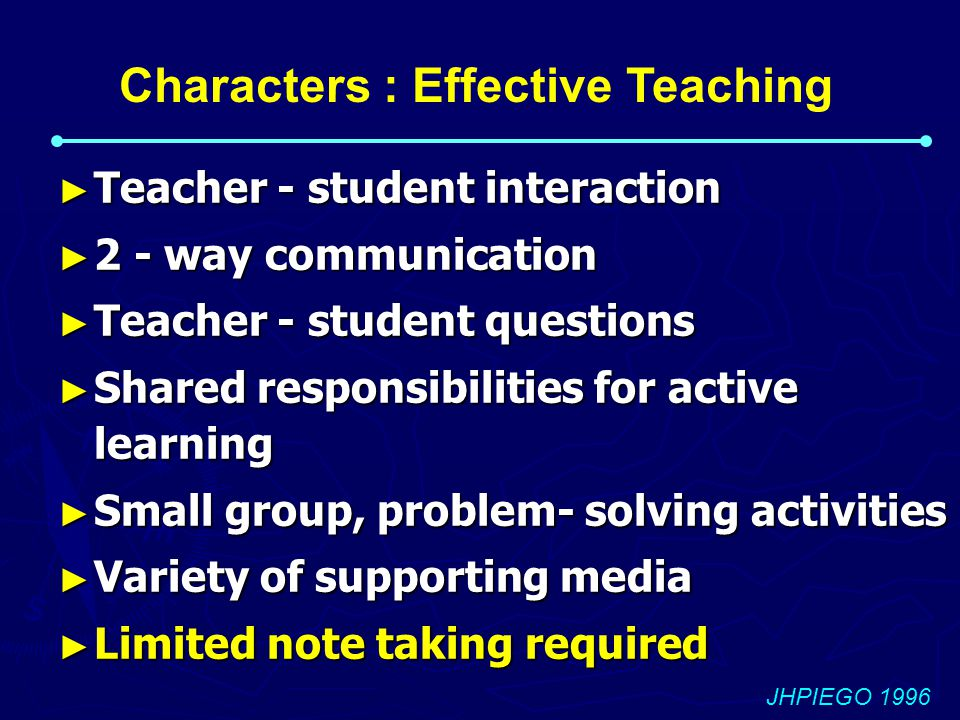 Characters : Effective Teaching