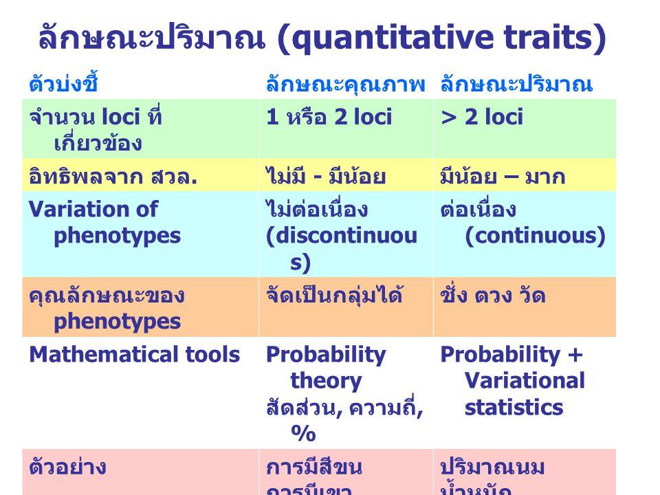 ลักษณะปริมาณ (quantitative traits)