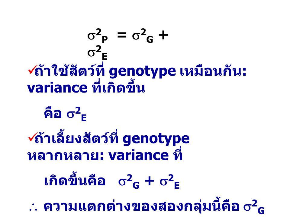 2P = 2G + 2E ถ้าใช้สัตว์ที่ genotype เหมือนกัน: variance ที่เกิดขึ้น. คือ 2E. ถ้าเลี้ยงสัตว์ที่ genotype หลากหลาย: variance ที่