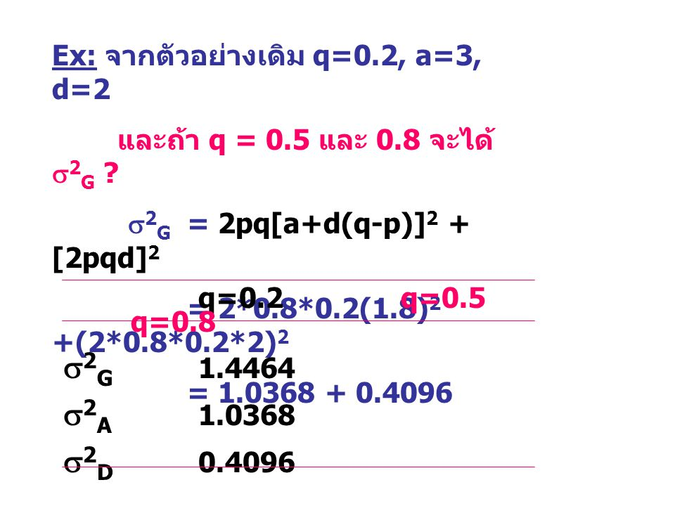 2G 1.4464 2A 1.0368 2D 0.4096 Ex: จากตัวอย่างเดิม q=0.2, a=3, d=2