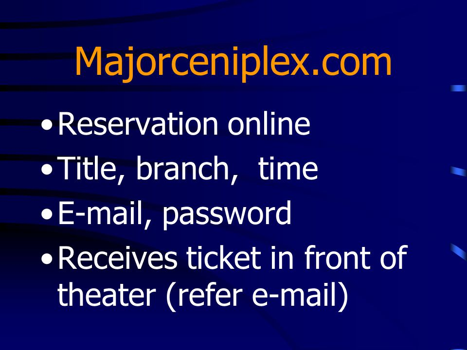 Majorceniplex.com Reservation online Title, branch, time