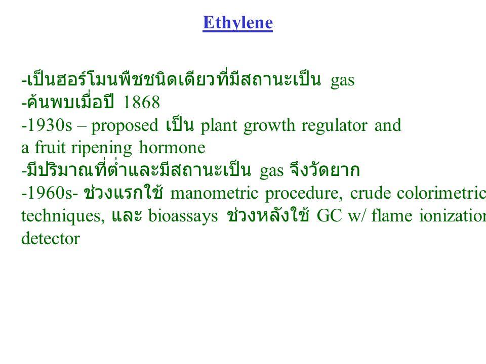 Ethylene -เป็นฮอร์โมนพืชชนิดเดียวที่มีสถานะเป็น gas. -ค้นพบเมื่อปี 1868. -1930s – proposed เป็น plant growth regulator and.