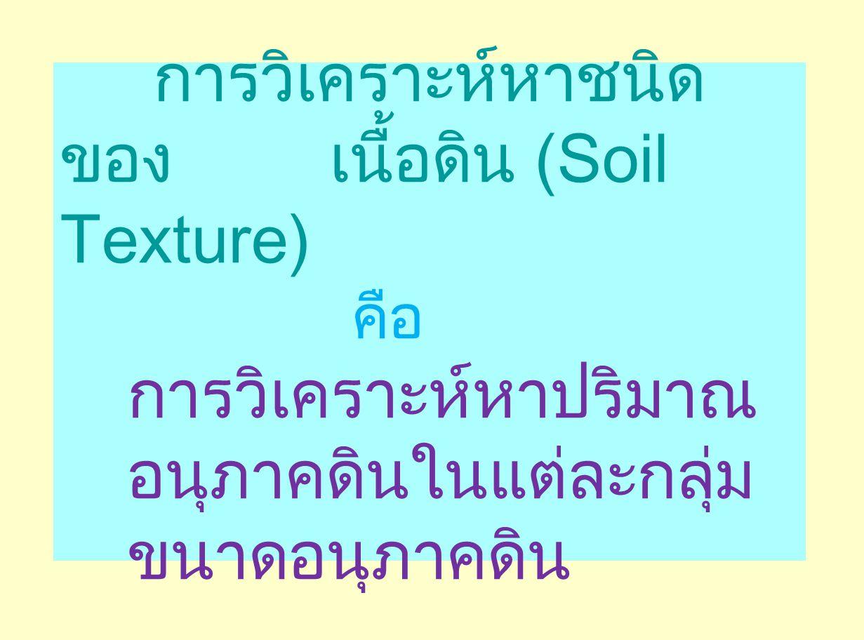 การวิเคราะห์หาชนิดของ เนื้อดิน (Soil Texture)