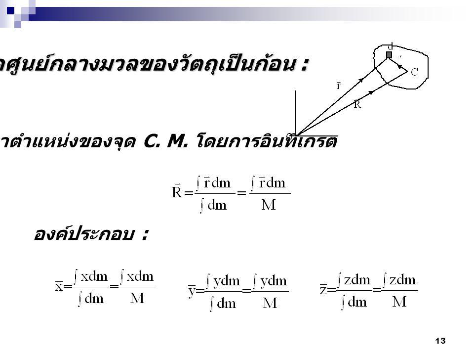 จุดศูนย์กลางมวลของวัตถุเป็นก้อน :