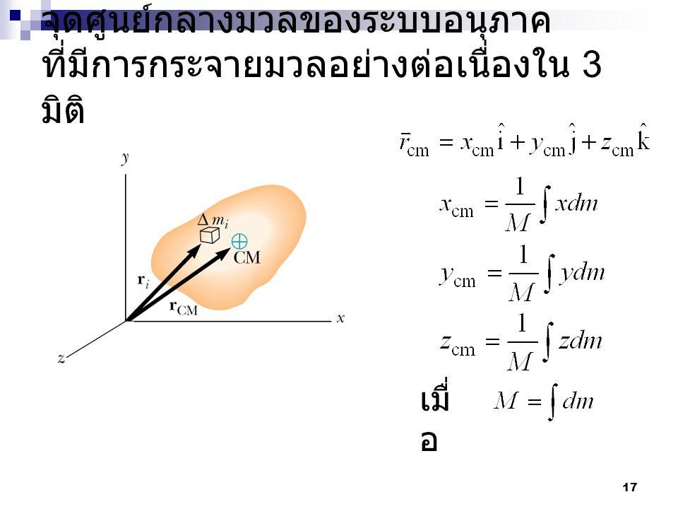 จุดศูนย์กลางมวลของระบบอนุภาค ที่มีการกระจายมวลอย่างต่อเนื่องใน 3 มิติ