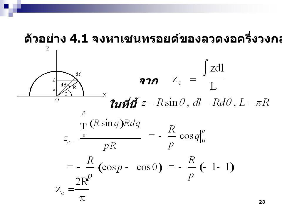ตัวอย่าง 4.1 จงหาเซนทรอยด์ของลวดงอครึ่งวงกลมโดยการอินติเกรต