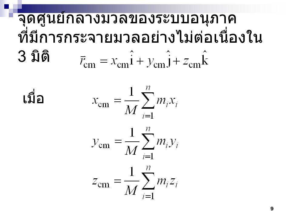จุดศูนย์กลางมวลของระบบอนุภาค ที่มีการกระจายมวลอย่างไม่ต่อเนื่องใน 3 มิติ