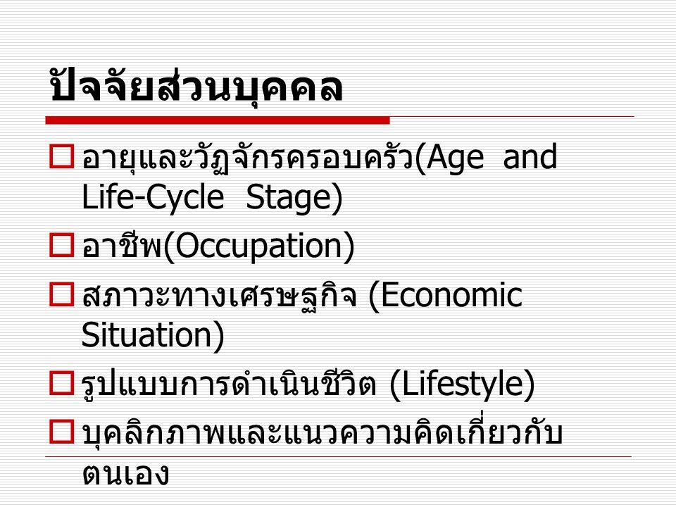 ปัจจัยส่วนบุคคล อายุและวัฏจักรครอบครัว(Age and Life-Cycle Stage)