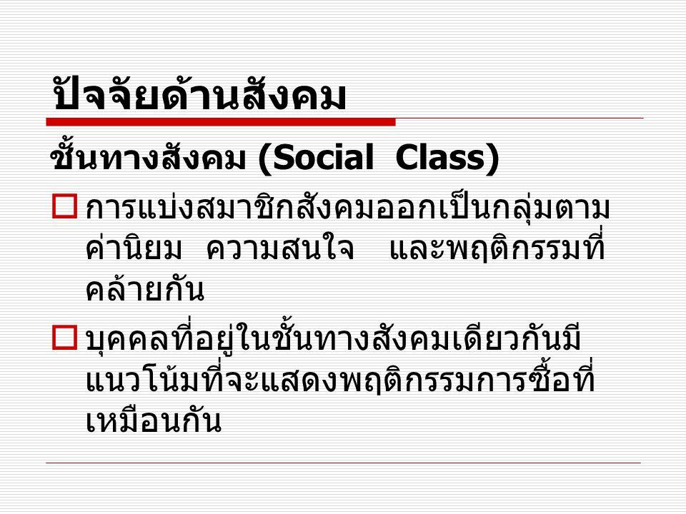 ปัจจัยด้านสังคม ชั้นทางสังคม (Social Class)