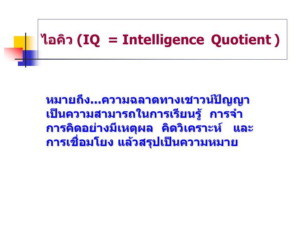 ไอคิว (IQ = Intelligence Quotient )