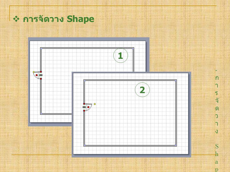 การจัดวาง Shape 1. การจัดวาง Shape เราสามารถปรับทิศทาง ให้เป็นไปตามที่ต้องการได้โดยการ คลิกซ้ายที่ ค้างไว้แล้วลากไปทิศที่ต้องการ.