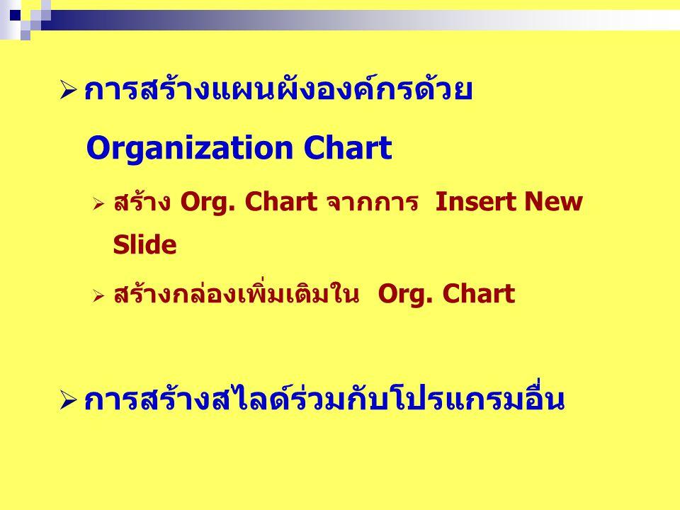 การสร้างแผนผังองค์กรด้วย Organization Chart