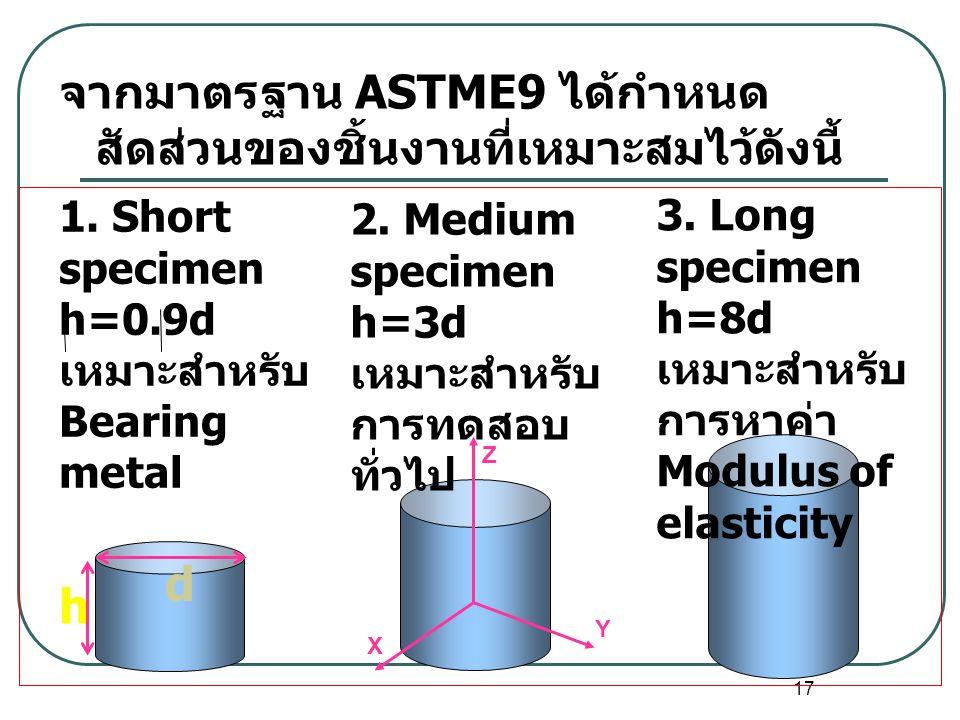 d h จากมาตรฐาน ASTME9 ได้กำหนดสัดส่วนของชิ้นงานที่เหมาะสมไว้ดังนี้