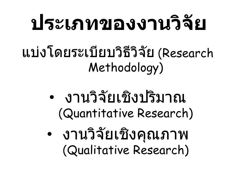 ประเภทของงานวิจัย งานวิจัยเชิงปริมาณ (Quantitative Research)