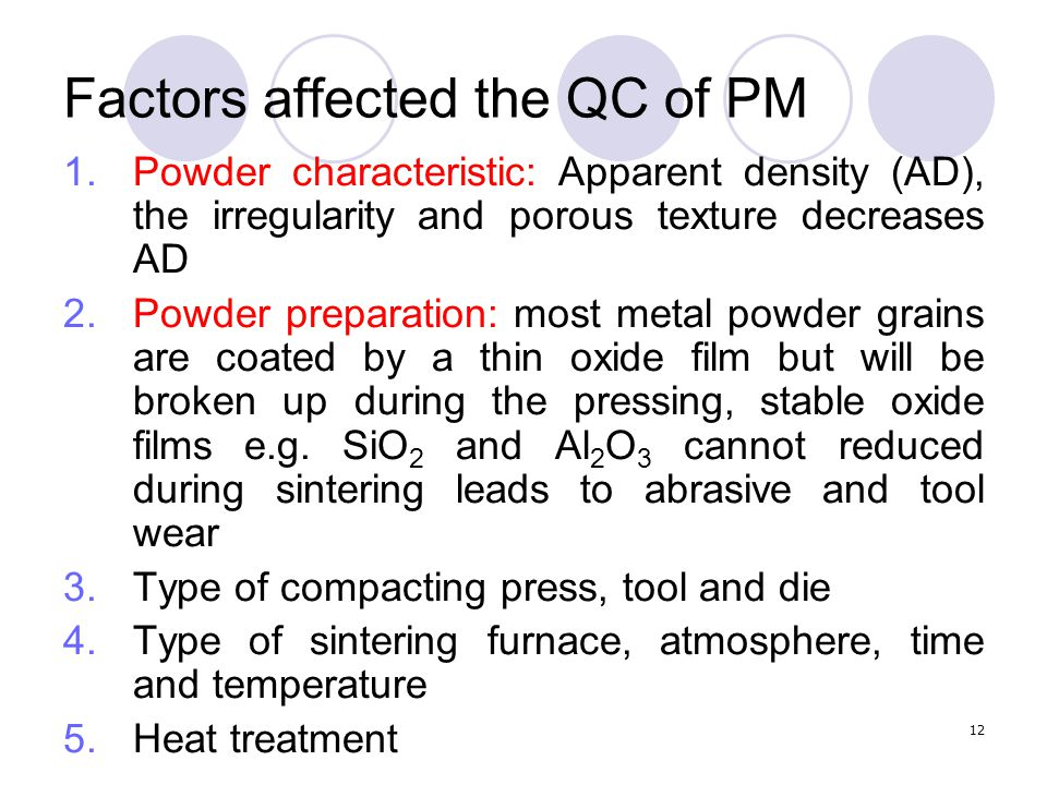 Factors affected the QC of PM