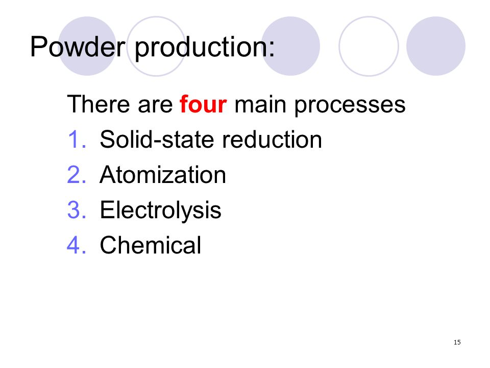 Powder production: There are four main processes Solid-state reduction