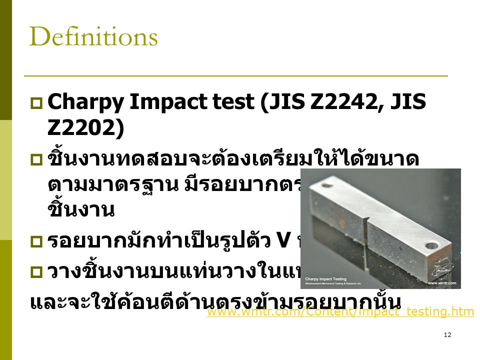 Definitions Charpy Impact test (JIS Z2242, JIS Z2202)