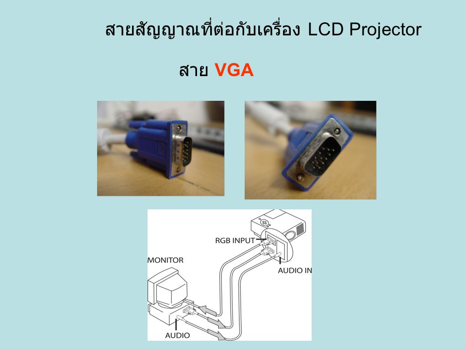 สายสัญญาณที่ต่อกับเครื่อง LCD Projector