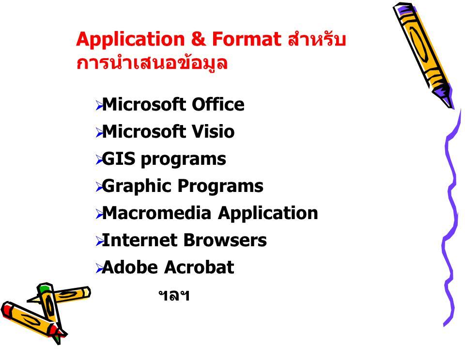 Application & Format สำหรับ การนำเสนอข้อมูล