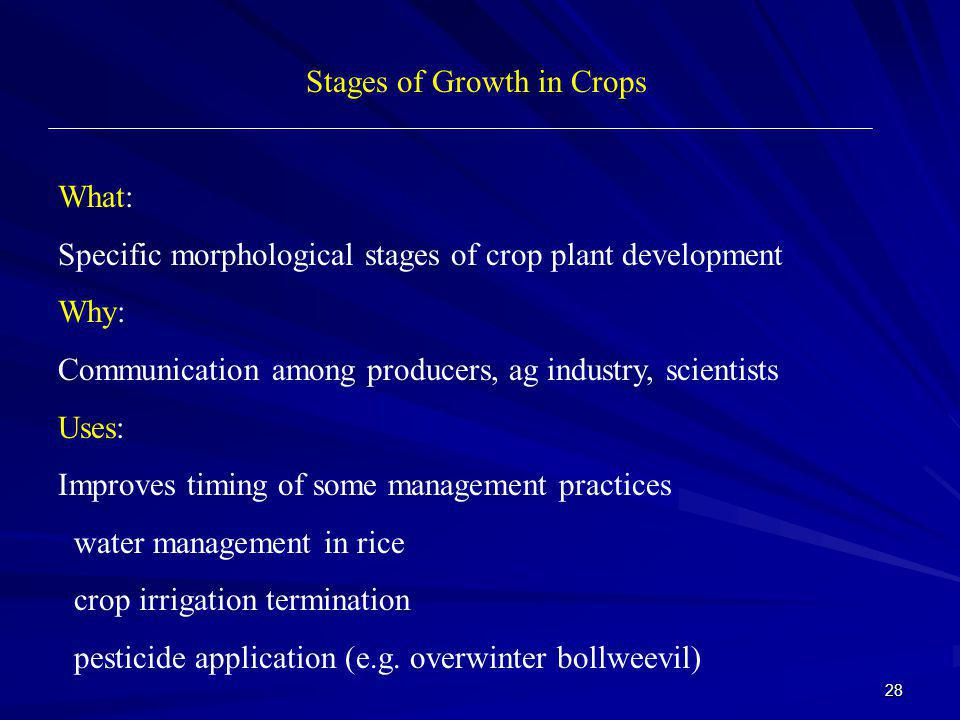 Stages of Growth in Crops