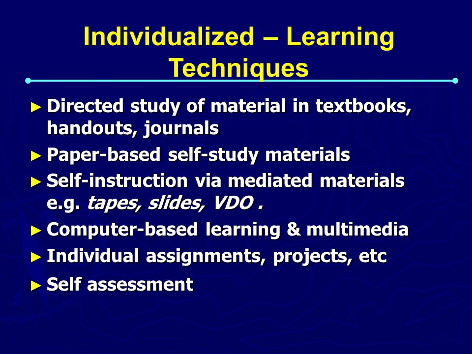 Individualized – Learning Techniques