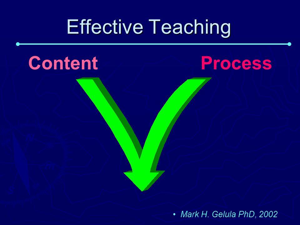 Effective Teaching Content Process Mark H. Gelula PhD, 2002