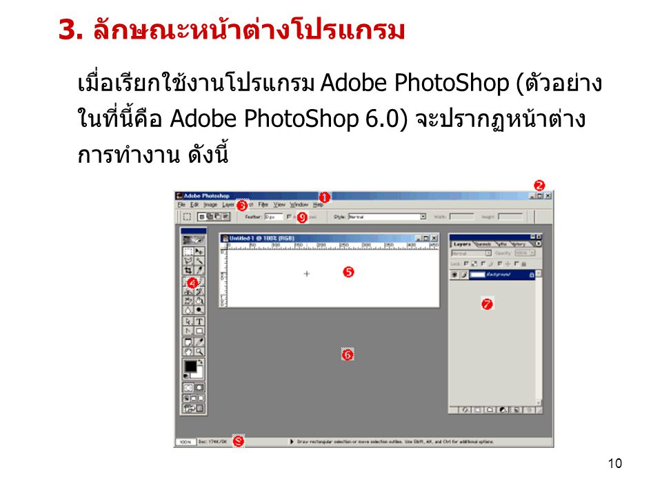 3. ลักษณะหน้าต่างโปรแกรม
