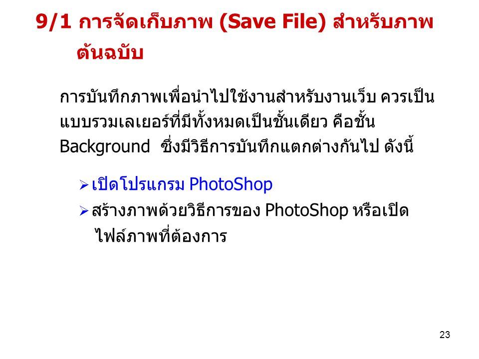 9/1 การจัดเก็บภาพ (Save File) สำหรับภาพ ต้นฉบับ