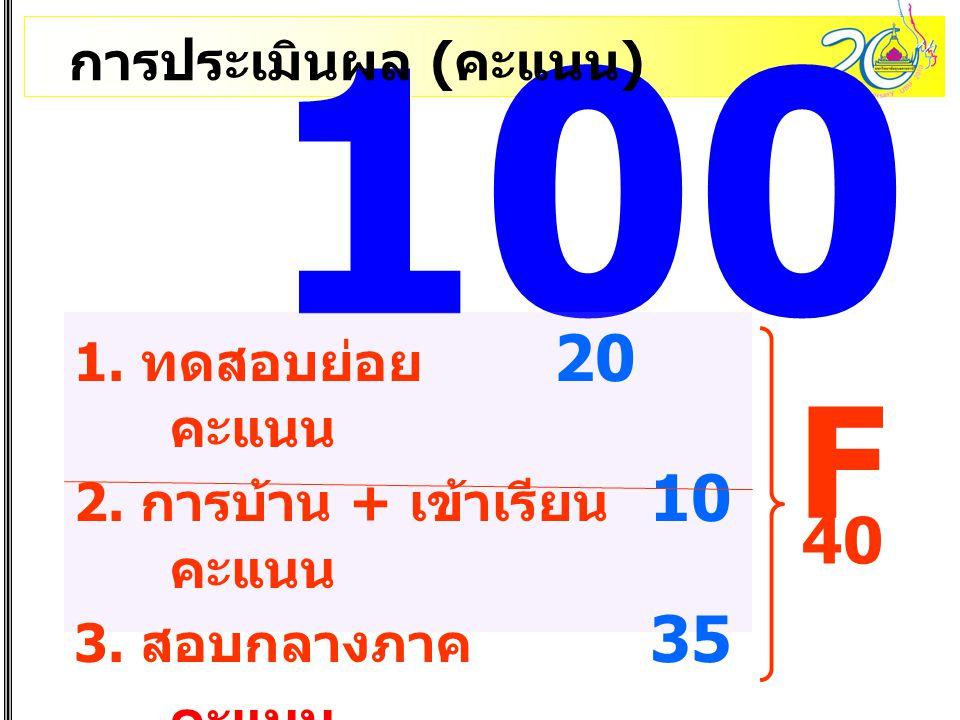 100 F 40 การประเมินผล (คะแนน) 1. ทดสอบย่อย 20 คะแนน