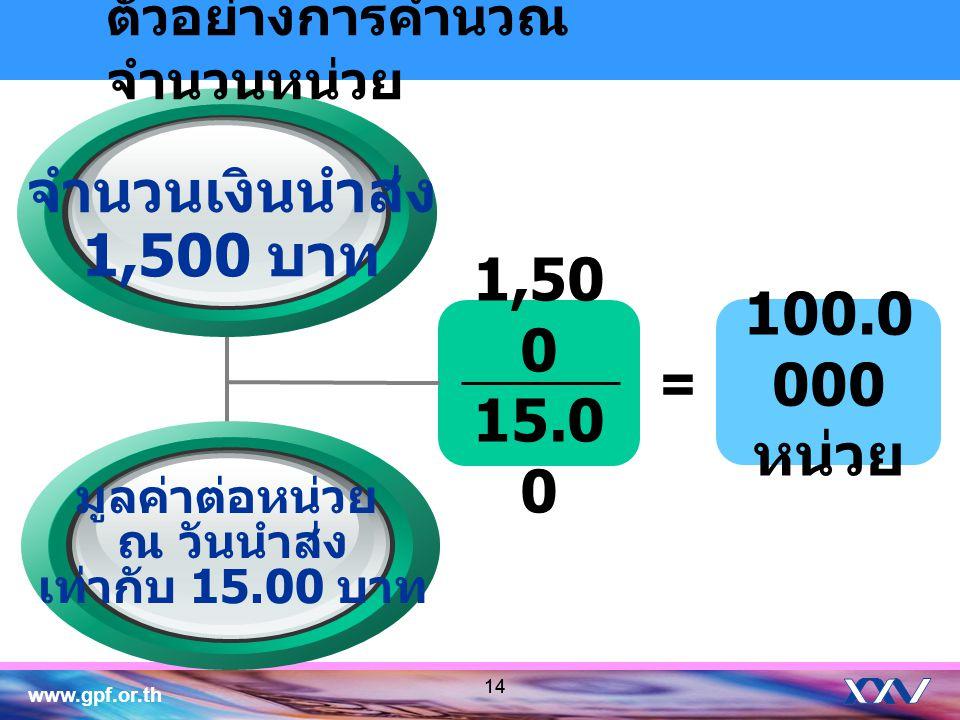 จำนวนเงินนำส่ง 1,500 บาท 1,500 15.00 100.0000 หน่วย =