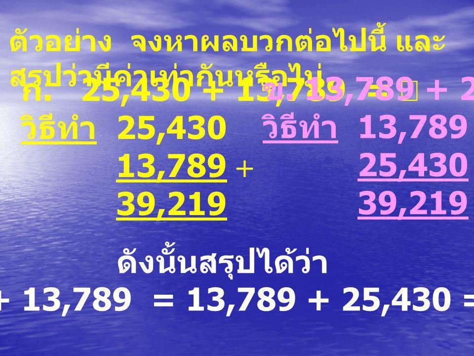ดังนั้นสรุปได้ว่า 25,430 + 13,789 = 13,789 + 25,430 = 39,219